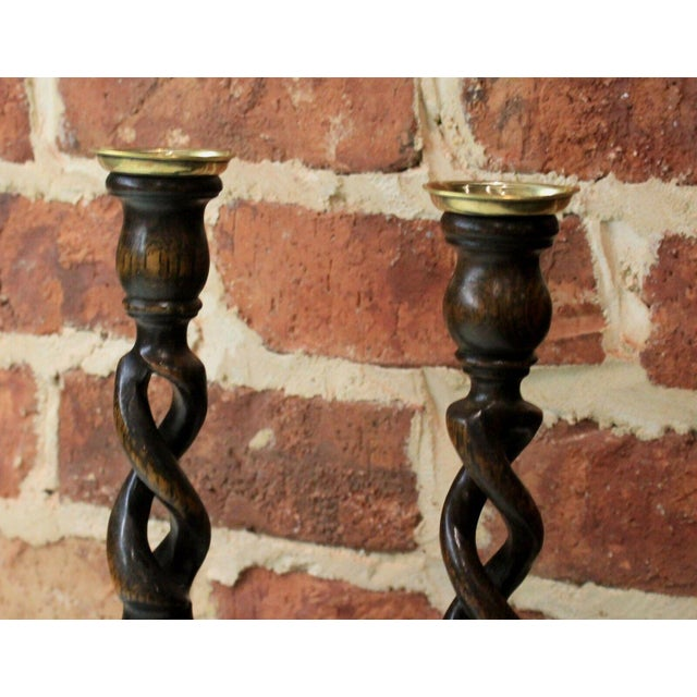 "Antique English Oak Open Barley Twist Candlesticks Candle Holders Tall 12"" Tall - a Pair For Sale - Image 4 of 11"