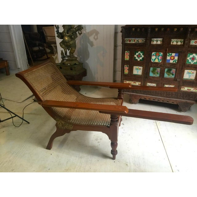 Antique Teak Colonial Plantion Chair With Fold Out Arms For Sale - Image 5 of 5