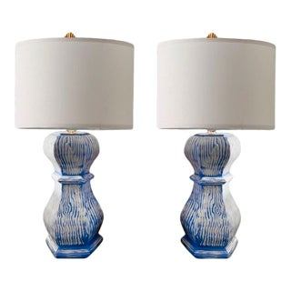 Blue & White Hexagon Faux Bois Ceramic Lamps With Linen Hardback Lamp Shade - a Pair For Sale