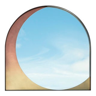 Contemporary Slip Mirror in Blackened Steel and Rose Gradient Patinated Bronze For Sale