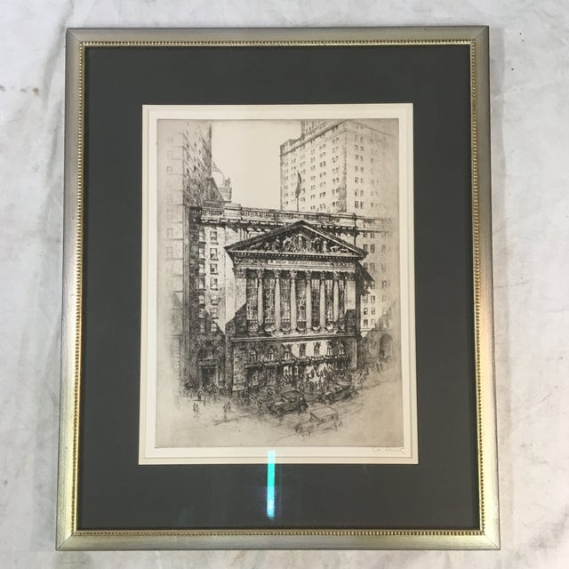 "Black 1925 ""New York Stock Exchange"" Architectural Original Signed Etching by Anton Schütz, Framed For Sale - Image 8 of 8"