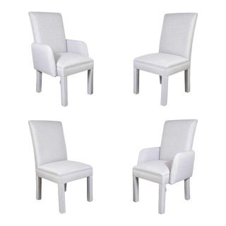 Set of Four Luxe Modernist Chairs In Metallic Upholstery For Sale