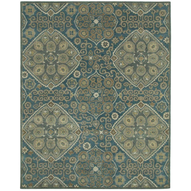 Traditional Updated Traditional Hand Tufted Geometric Green Rug - 8' X 10' For Sale - Image 3 of 3