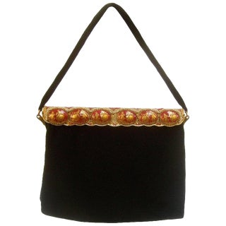 Opulent French Ebony Glass Beaded Evening Bag C 1960s For Sale