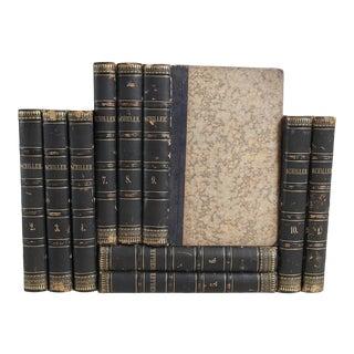 Antique Leather Books in German: Friedrich Schiller - Set of 10 Decorative Books