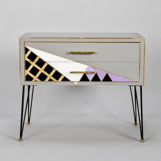 Italian Two-Drawer Cabinets with Murano Glass and Brass Inlays - A Pair - Image 10 of 11