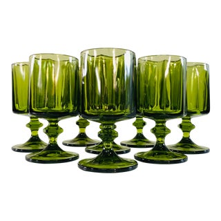 Vintage 1960s Green Glass Tall Water Stems, Set of 8 For Sale