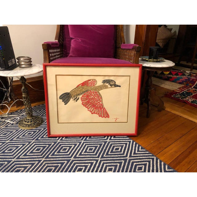 Gold/ Red/ Black Bird Acrylic Painting in Red Bamboo Frame For Sale In Providence - Image 6 of 12