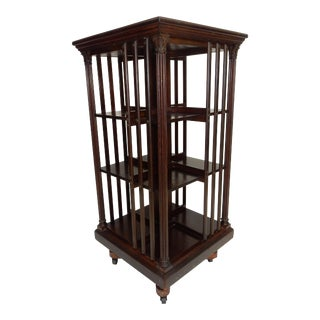 "Large Antique Signed Danner Mahogany Revolving Bookcase. 46"" For Sale"