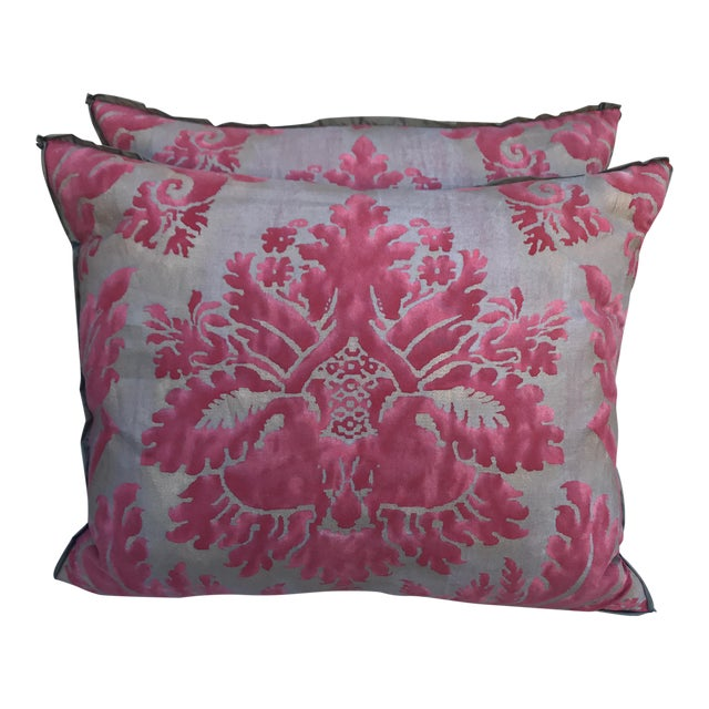 Pink & Gray Fortuny Pillows - A Pair - Image 1 of 5