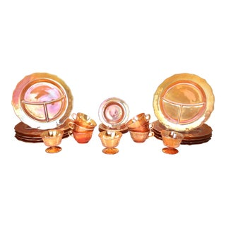 Federal Carnival Glass Dinner Set in the Normandie Sunburst - 24 Piece Set For Sale