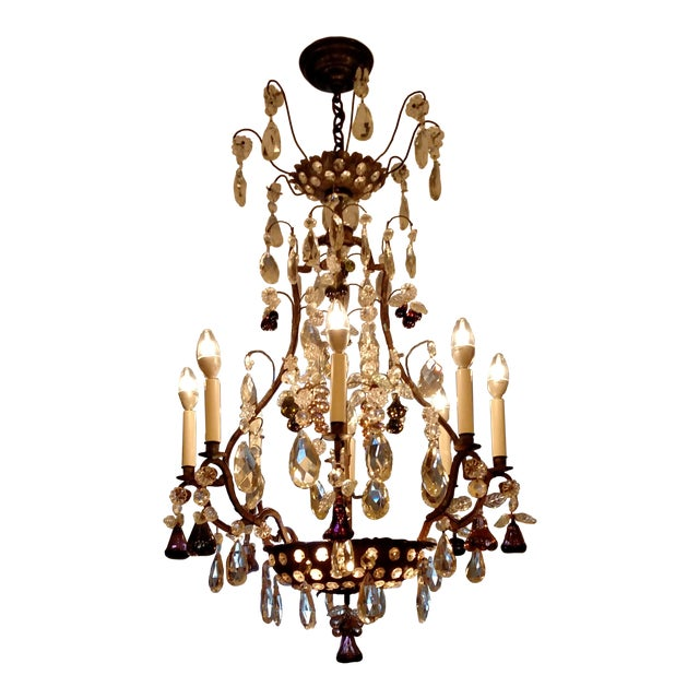 1840s Antique Iron Baguès French Cut Glass Dangles Chandelier For Sale