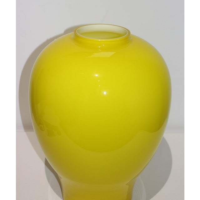"Yellow Vetri Murano Glass Vase 17"" 1970s For Sale - Image 9 of 13"