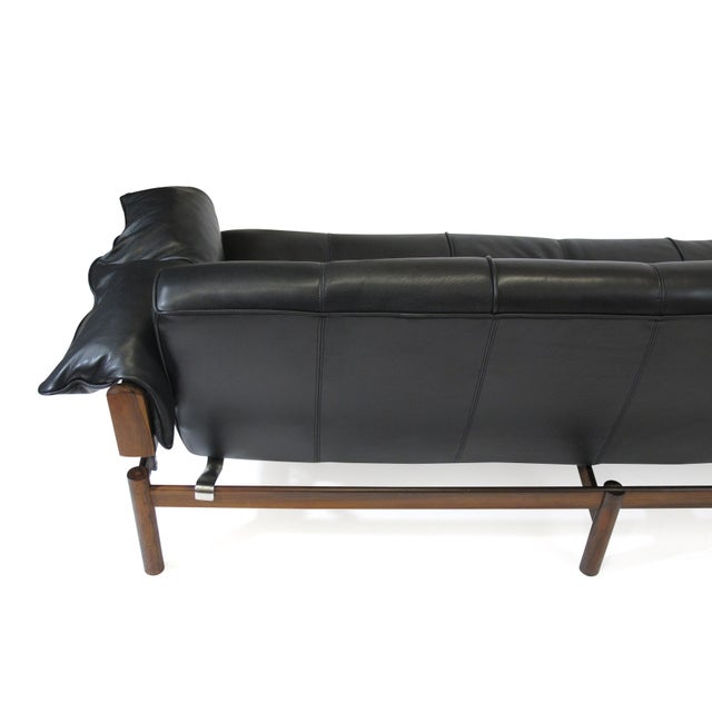 Percival Lafer Brazilian Modernist Rosewood Sofa and Chair in Black Leather For Sale - Image 12 of 13