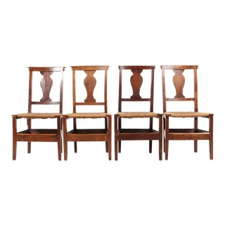 Set of 4 19th-C. English Lyre Back Chairs With Rush Seats For Sale