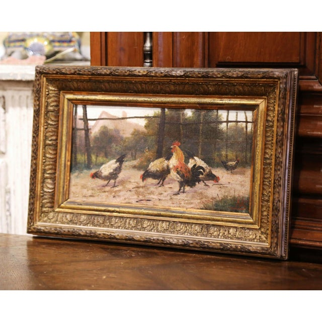 Created in Normandy France, circa 1870, and set in the original carved gilt frame, the antique artwork composition painted...
