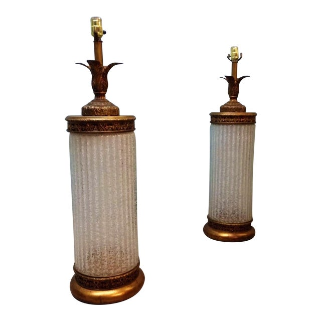 Murano Glass Gilt Table Lamps - A Pair - Image 1 of 6