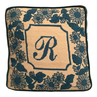 "Blue & White Floral & Initialed ""R"" Needlepoint Pillow For Sale"