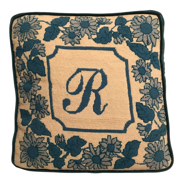 """Blue & White Floral & Initialed """"R"""" Needlepoint Pillow For Sale"""