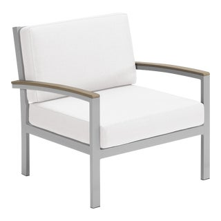 Outdoor Cushion Lounge Chair, Vintage and Eggshell