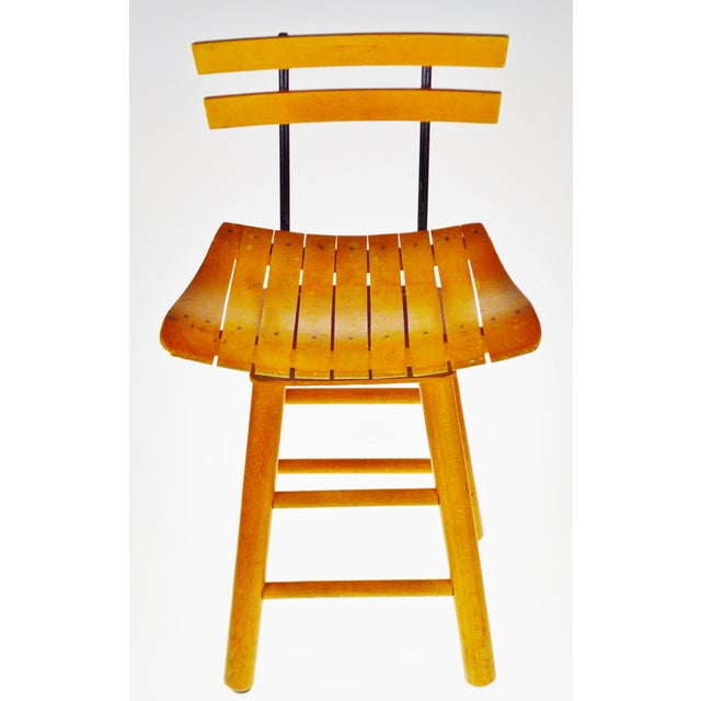 Mid Century Arthur Umanoff Style Slatted Wood Swivel Stool Condition consistent with age and history. Some nicks and...