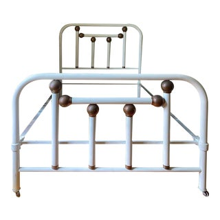 Mid Century Modern Painted Metal Bed Frame With Copper Ball Motif For Sale