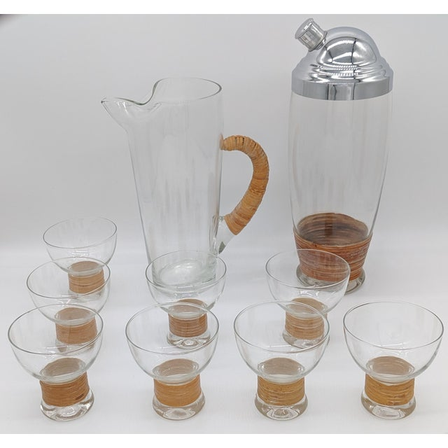 Mid Century Glass and Rattan Bar Service - Set of 10 For Sale - Image 12 of 12