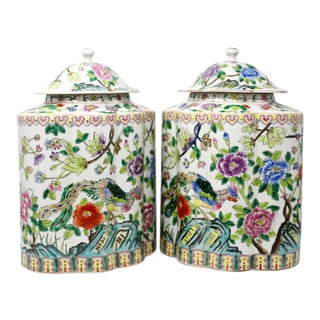 Vintage Hand-Painted Scalloped Ginger Jars With Peacocks and Flowers - a Pair For Sale