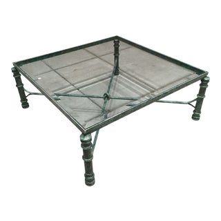 Patinated Wrought Iron Base Beveled Glass Top Coffee Table After Giacometti For Sale
