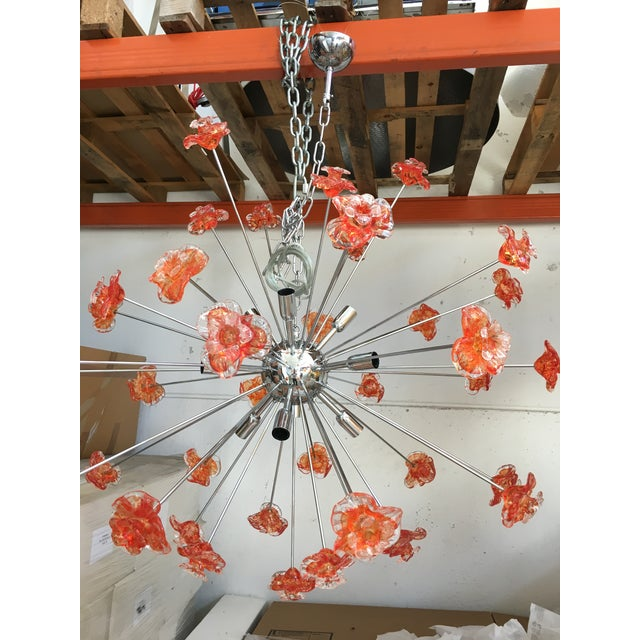 Contemporary Murano Glass Triedo Sputnik Flower Chandelier For Sale - Image 3 of 6