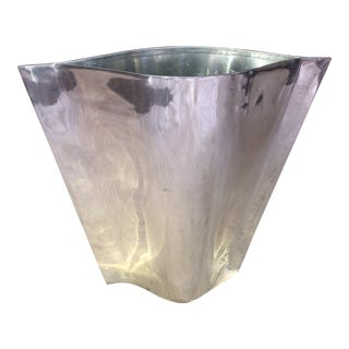 Late 20th Century Stainless Steel Post Modern Large Geometric Vase For Sale