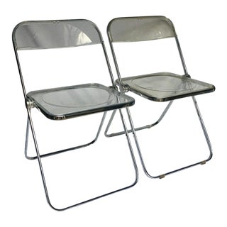Giancarlo Piretti for Castelli Modern Plia Lucite Folding Dining Chairs- A Pair For Sale