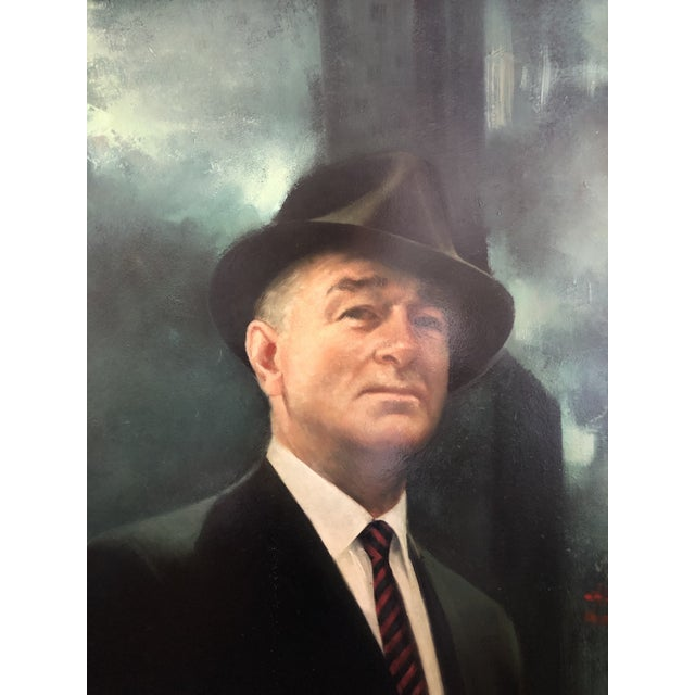 Mid-Century Modern XL Portrait by M Runci Dated 1965 For Sale - Image 3 of 9