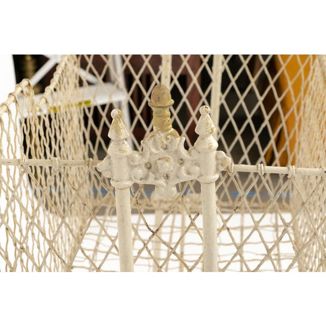 Metal Antique Victorian Painted Wrought Wire and Cast Iron Swinging Cradle For Sale - Image 7 of 10