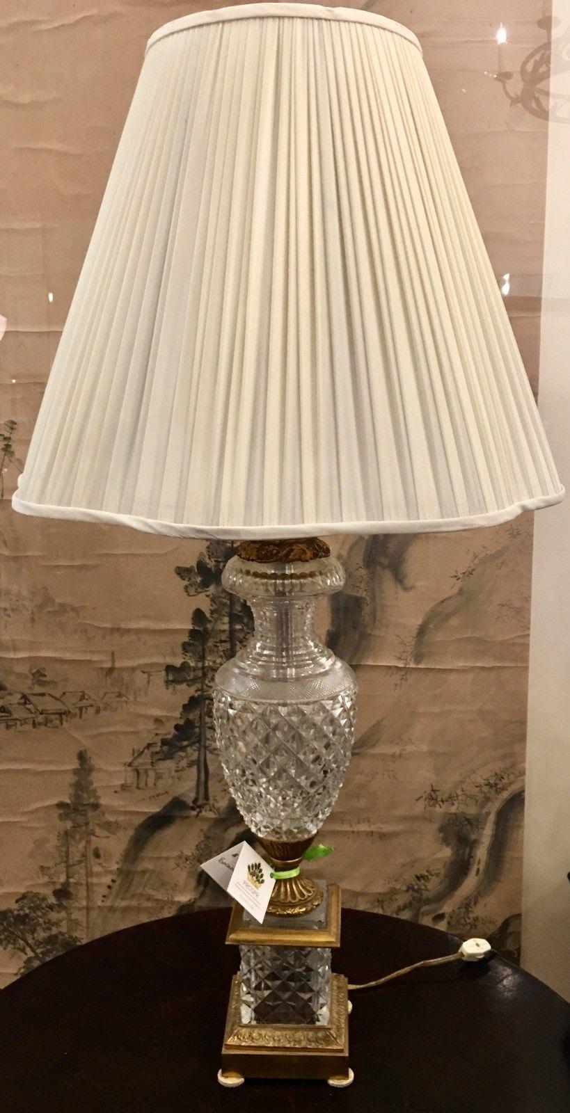 Antique baccarat cut crystal gilt bronze urn lamp image 2