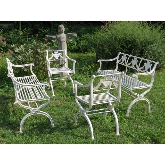 1900s Karl Friedrich Schinkel Style Neoclassical Cast Iron Patio Suite - 4 Pc. Set For Sale - Image 13 of 13