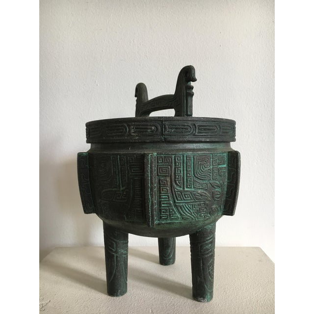 James Mont James Mont Style Faux Bronze Verdigris Ice Bucket For Sale - Image 4 of 7