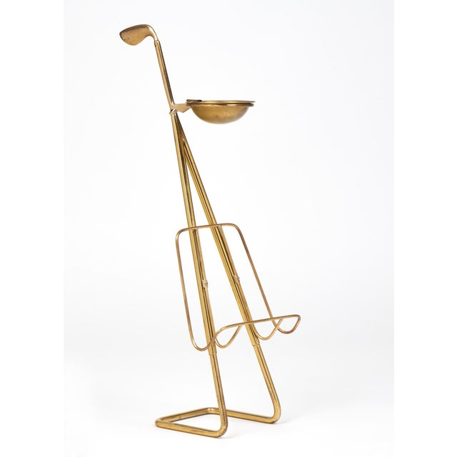 French Mid-Century Brass Ashtray Magazine Stand For Sale - Image 5 of 9