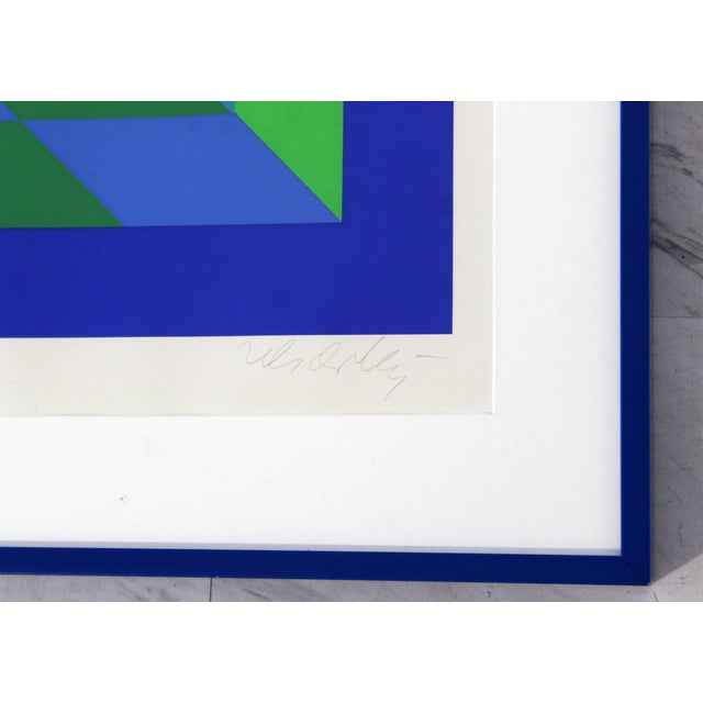 1970s Mid-Century Modern Framed Signed Numbered Op Art Litho Print Victor Vasarely For Sale - Image 5 of 6