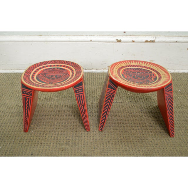 Vintage Hand Painted Aztec Tribal Stools - A Pair - Image 3 of 10