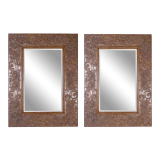 Monumental Pair of Very Large Bronze Wall Mirrors For Sale