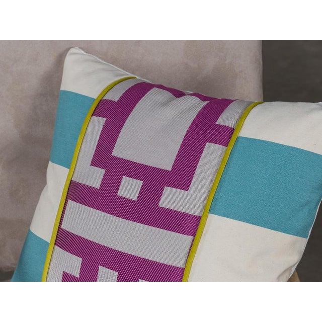 Cotton Blend Pillow with Robin Blue and Orchid Purple Geometric Lines For Sale - Image 4 of 6