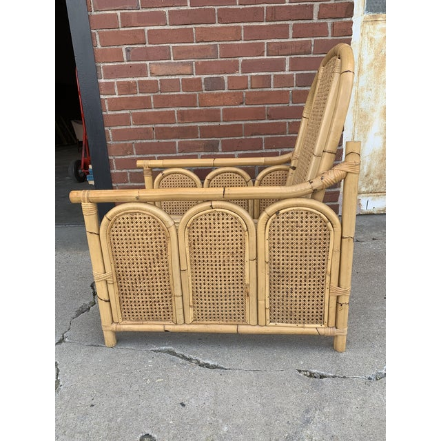 Mid-Century Modern Bamboo Rattan Chair With Caning For Sale - Image 3 of 5