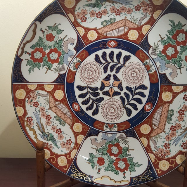 Imari Porcelain Vintage Imari Porcelain Charger on Bamboo Stand For Sale - Image 4 of 8