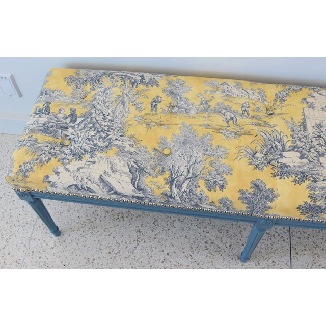 Metal French-Style Yellow, White & Blue-Gray Toile Bench For Sale - Image 7 of 13