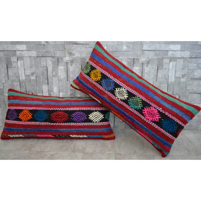 Wool on wool lumbar pillow covers made from vintage or antique Turkish kilim rug. Feature back side cotton with hidden...