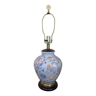Ceramic Ginger Jar Table Lamp With Painted Floral Design in Pale Blue & Pastels - Late 1970's For Sale
