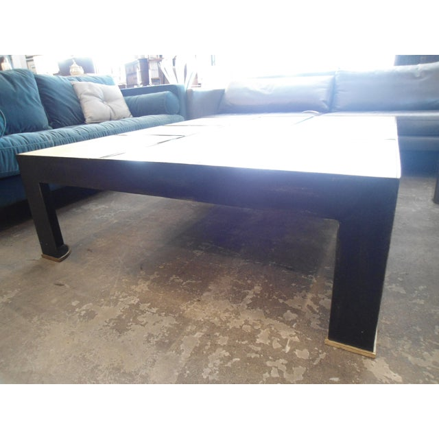 Garrison Rousseau Parchment & Bronze Wheeler Coffee Table - Image 4 of 7