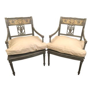 Old French Painted Chairs - a Pair For Sale