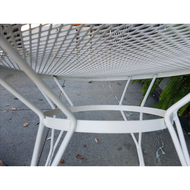 Mid-Century Round White Mesh Side Table - Image 6 of 6